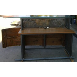 Reception desk with wood in the front part